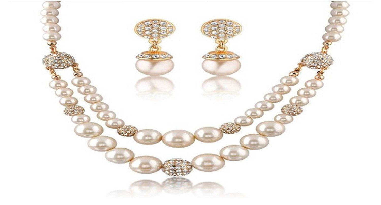 Double Layer Imitation Pearl Necklace and Earrings Set