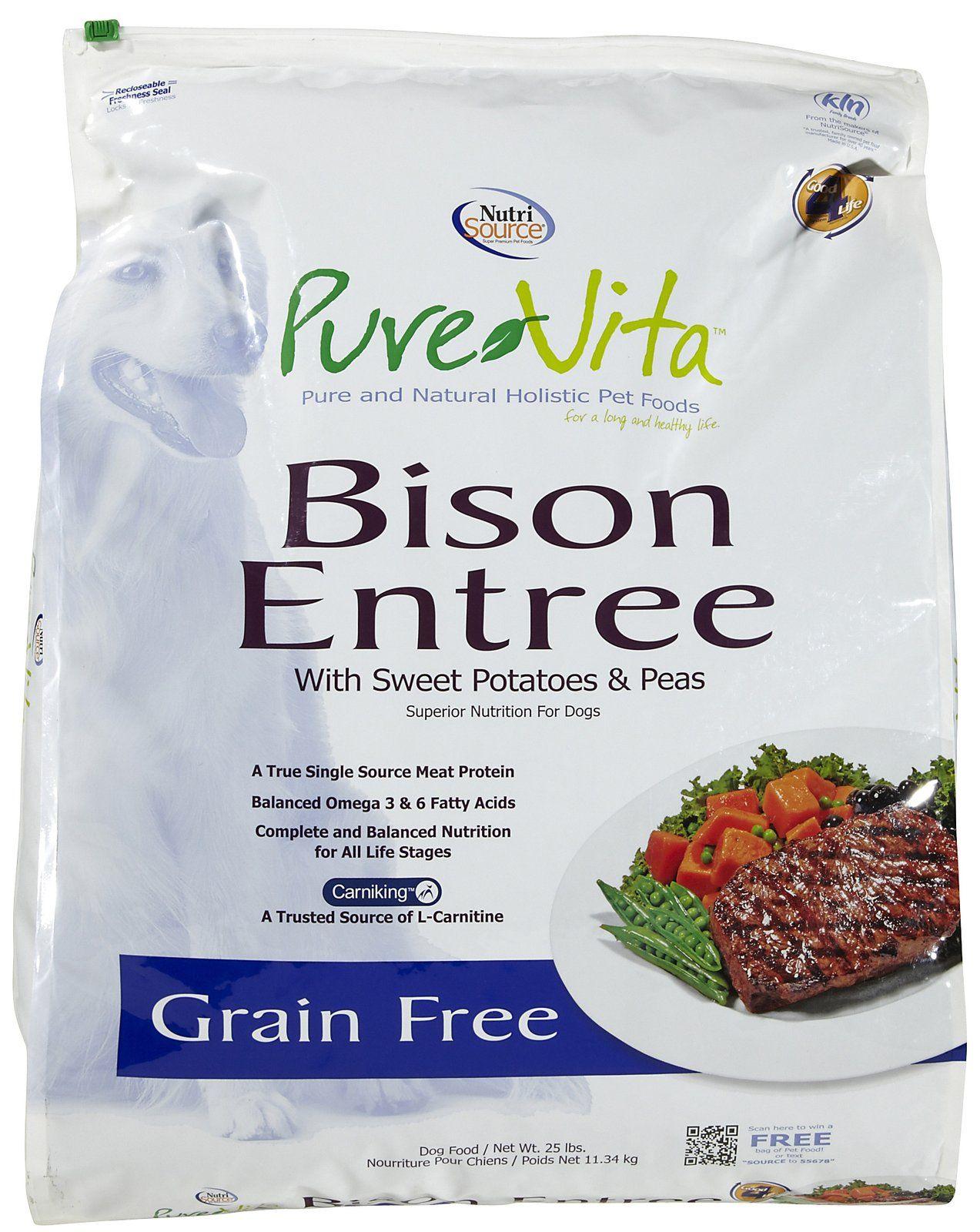 Pure Vita Grain Free Bison Grain free dog food, Food animals