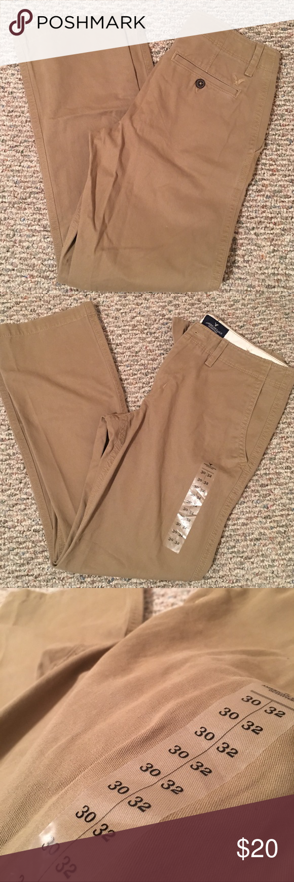 American Eagle Men Khakis Size 30/32 Men Khaki Pants. Original Boot style. NWT. Perfect condition, purchased as a gift but never gave them. Smoke and pet free home. American Eagle Outfitters Pants Chinos & Khakis