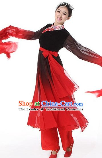 80e0267206d1c Black Red Chinese Classical Dance Costumes Leotards Dance Supply Girls  Clothes and Hair Accessories Complete Set