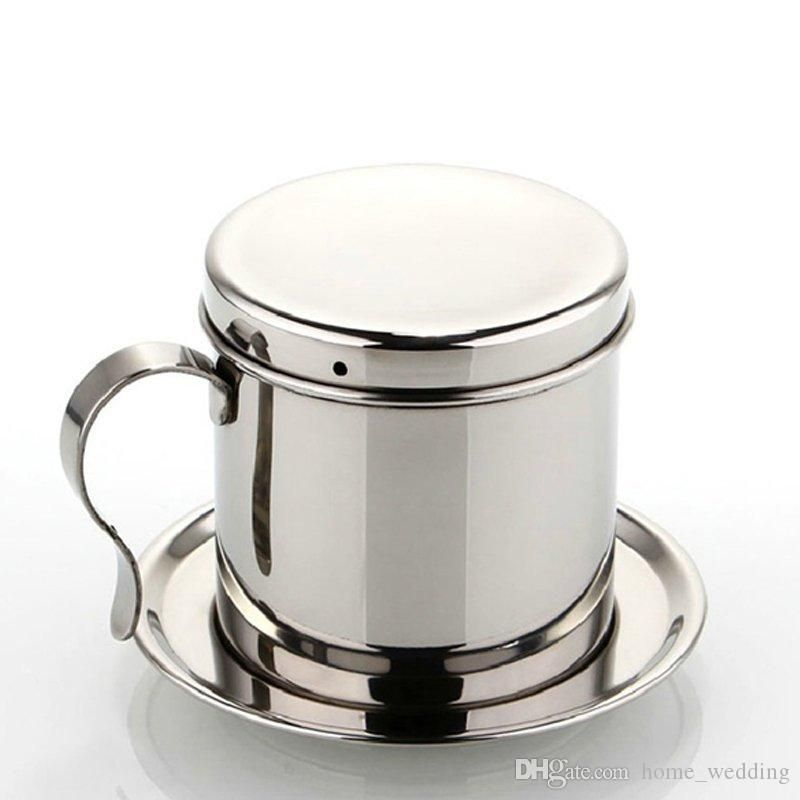 Vietnam Style Coffee Mug Cup Jug Stainless Steel Metal Vietnamese Coffee Drip Cup Filter Maker Strain Coffee Maker Stainless Steel Coffee Filter Coffee Machine
