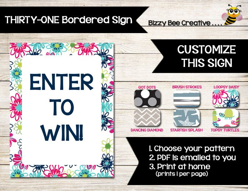 THIRTY-ONE CUSTOM Sign Summer 2017 Vendor Event Contest - raffle ticket
