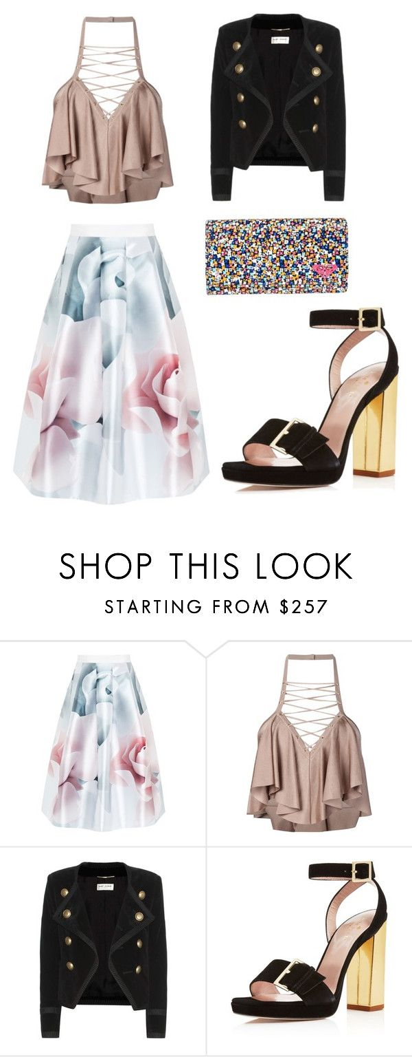 """""""Untitled #841"""" by filipaloves ❤ liked on Polyvore featuring Ted Baker, Balmain, Yves Saint Laurent, Kate Spade and Roxy"""