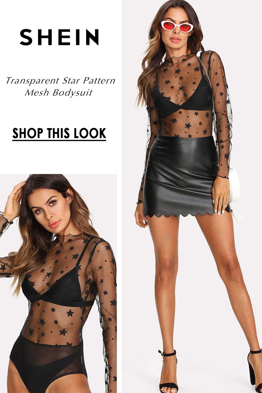 07d16229d4 Transparent Star Pattern Mesh Bodysuit Rocker Girl, Rocker Chick,  Transparent Shirt, Mesh Bodysuit