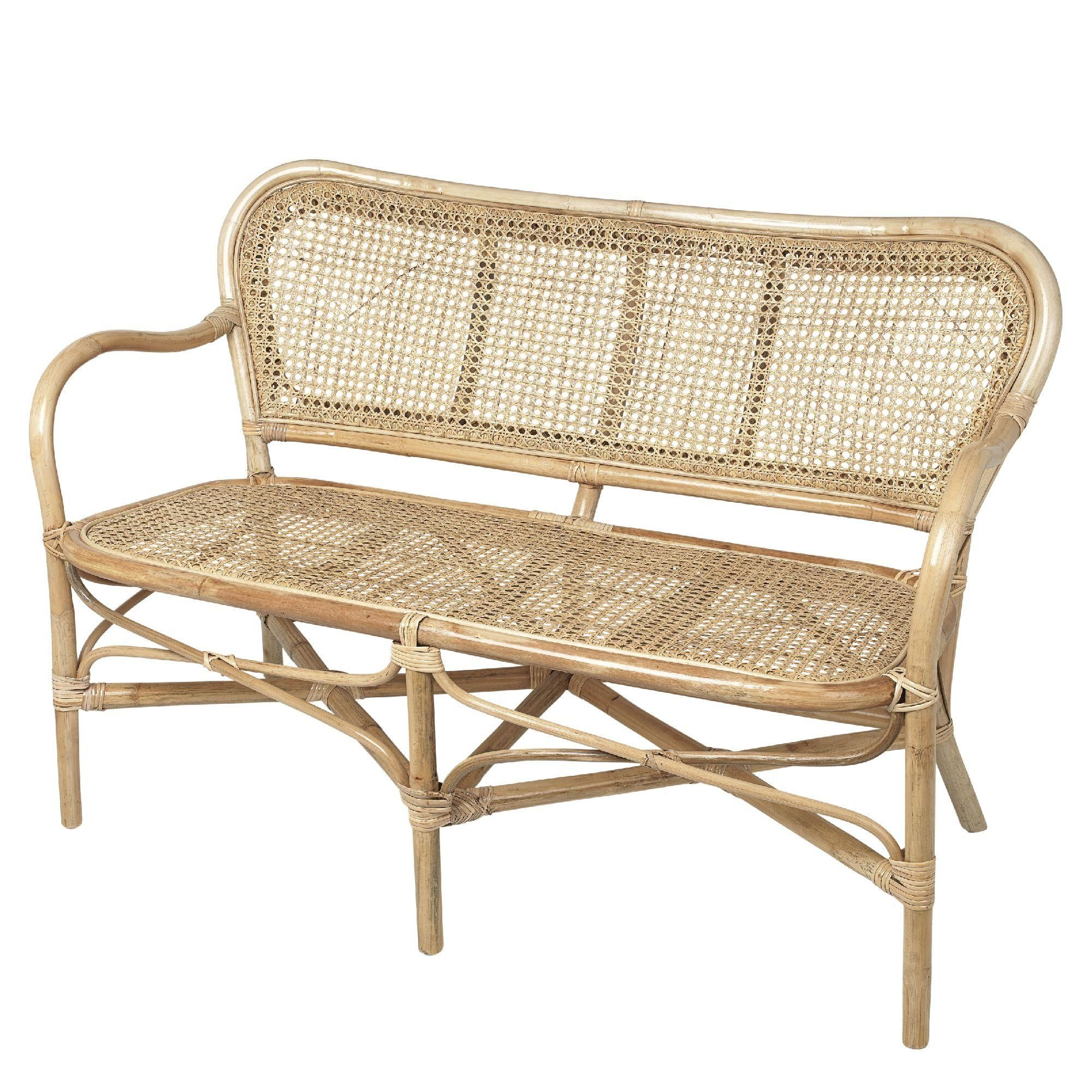 Bænk i bambus og ratan til stuen, entreen og udestuen fra Broste ...