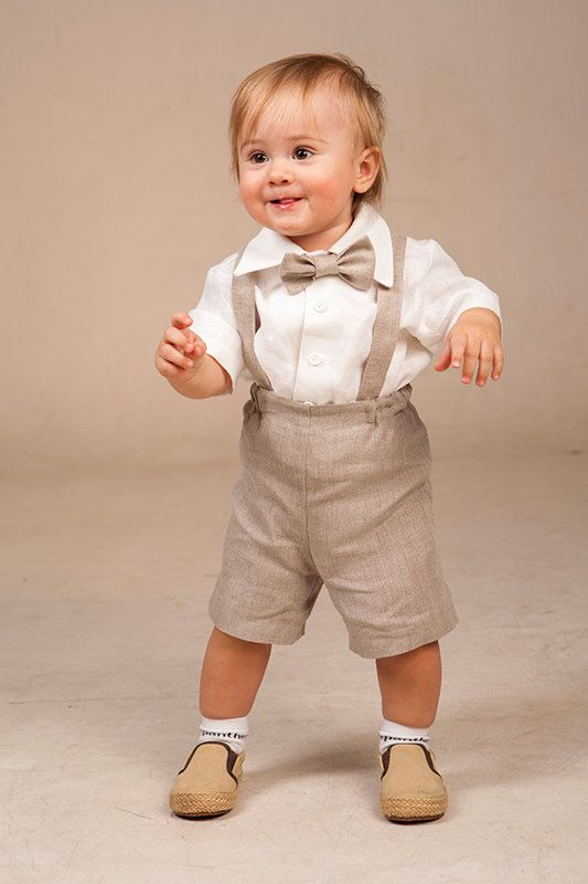 Baby boy linen suit ring bearer outfit first birthday por Graccia ...
