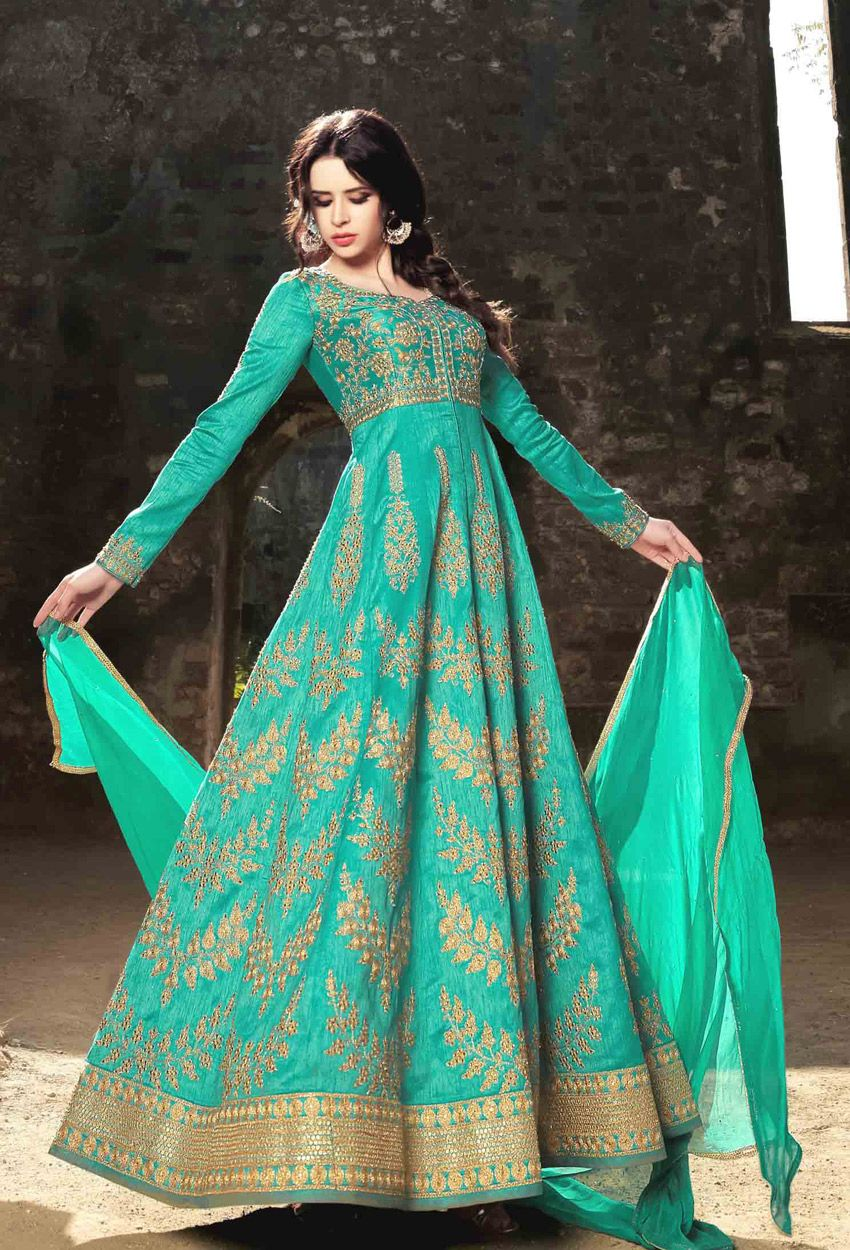 Turquoise Silk Long Anarkali Style Salwar Kameez | Long anarkali ...