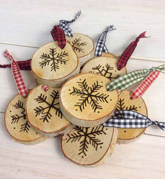 Set of 3 Hand-Etched Birch Snowflake Ornaments by BirchLandingHome