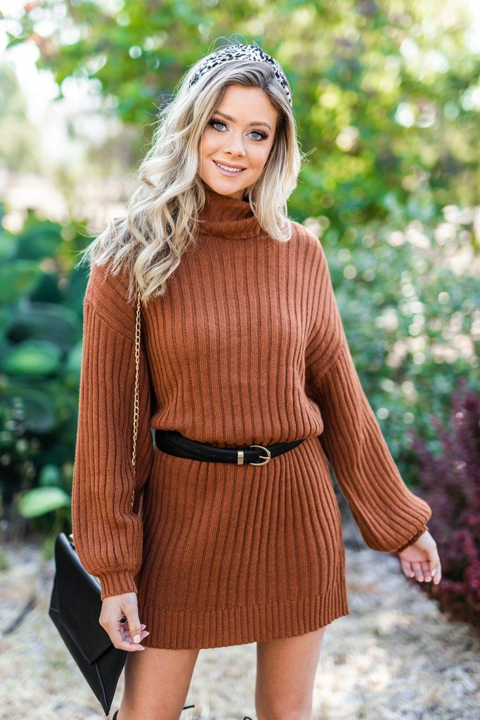 Fall Into You Cognac Brown Sweater Dress - Fall Into You Cognac Brown Sweater Dress #sweaterdressoutfit
