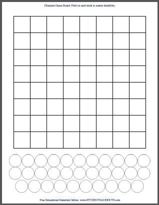 Blank White Diy Checkers Game Checkerboard Template  School Ideas