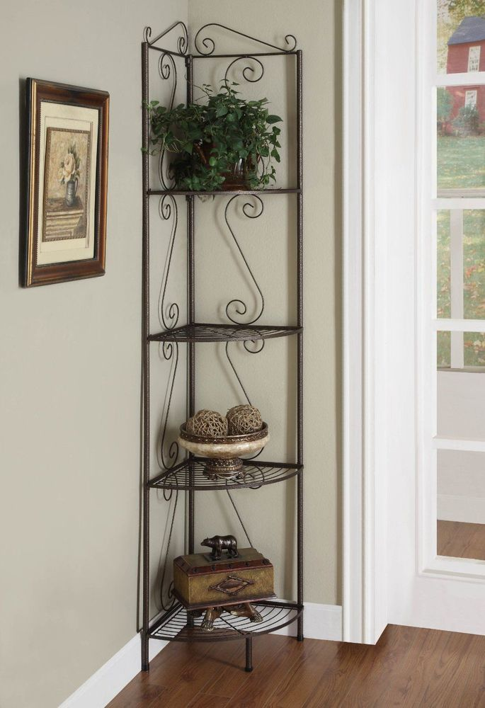 Decorative 4 Tier Corner Shelf Metal Rack Storage Display Home Decor Furniture Corner Display Metal Bookcase Corner Bookcase