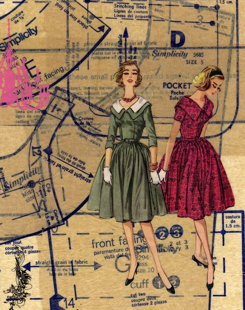 Vintage Sewing Pattern Art Artworksby Others Pinterest Mesmerizing Sewing Pattern Paper