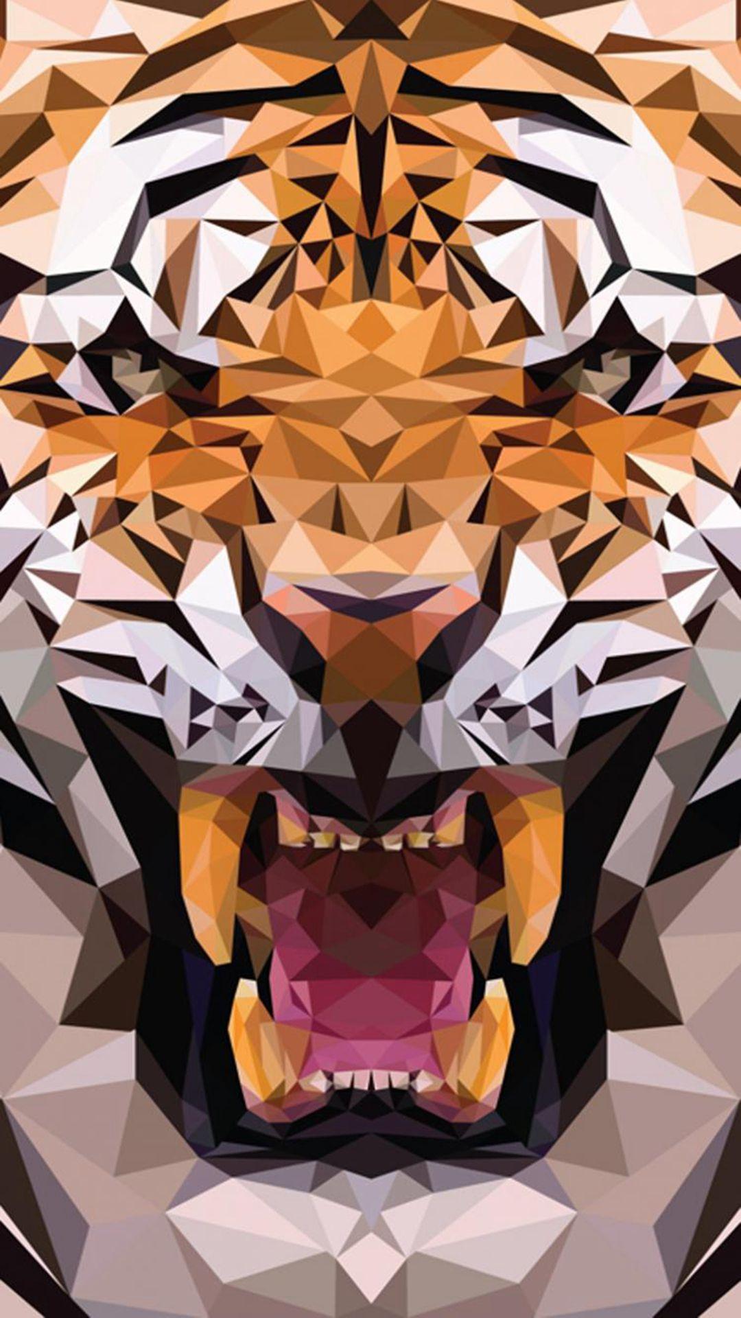 IOS8 Animals Tiger Polygon Pattern Drawn IPhone 6 Plus Wallpaper