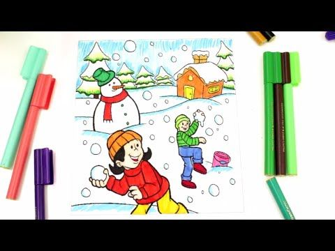 Coloring Kids Playing In The Snow Chrishtmas Coloring Pages For Kids Youtube Drawing For Kids Kids Playing Coloring Pages For Kids