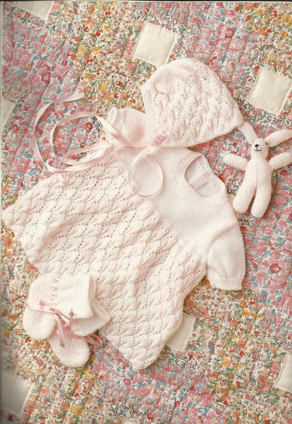 PDF Knitting Pattern 4 Ply 40  50 cm Baby's Dress by AussieMaria