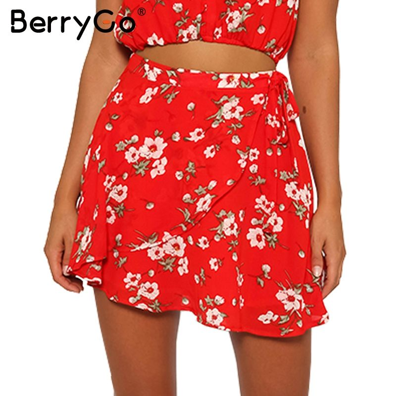 9d392abaf815d1 $21.58 - Cool BerryGo Boho red print chiffon skirts women Vintage party ruffles  short skirt Casual high waist summer beach skirt - Buy it Now!