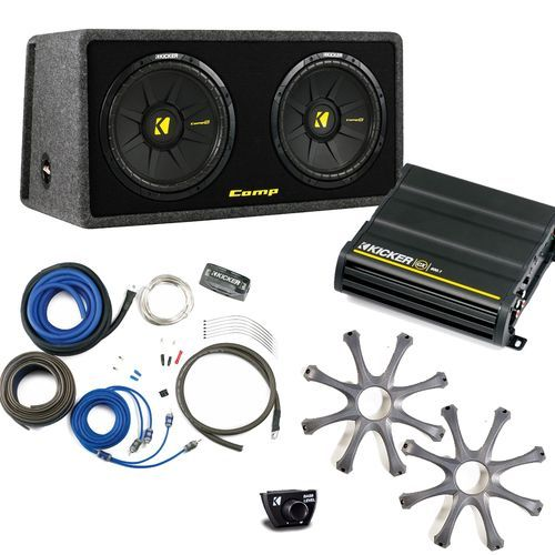 """Kicker Bass package - Dual 10"""""""" CompS in a ported box with CX600.1 amplifier, wiring kit, grilles, and bass knob."""