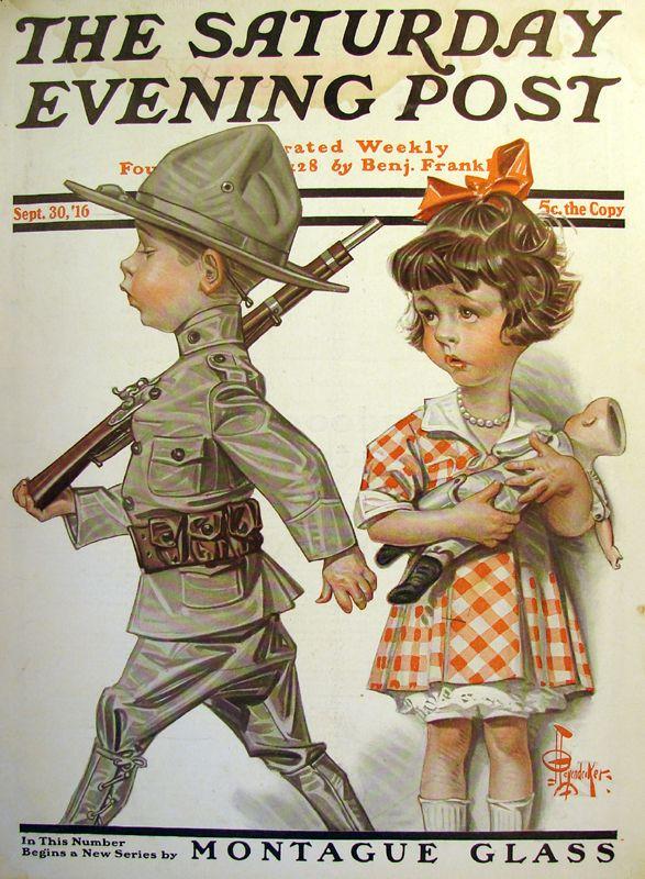 Littlest Soldier by JC Leyendecker Saturday evening post