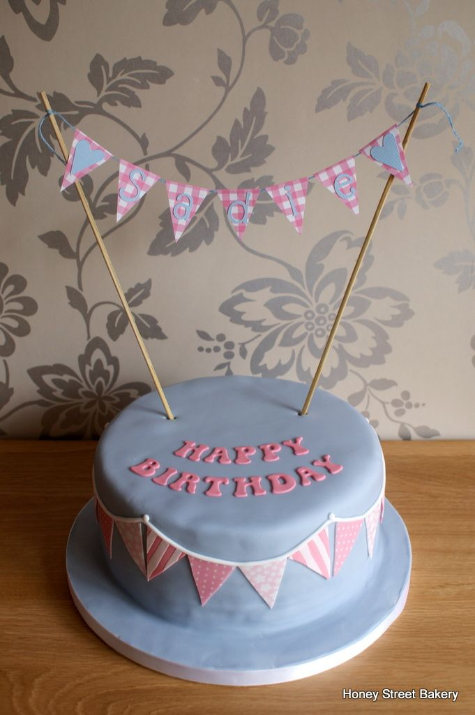 Birthday Cake With Bunting And Name Banner