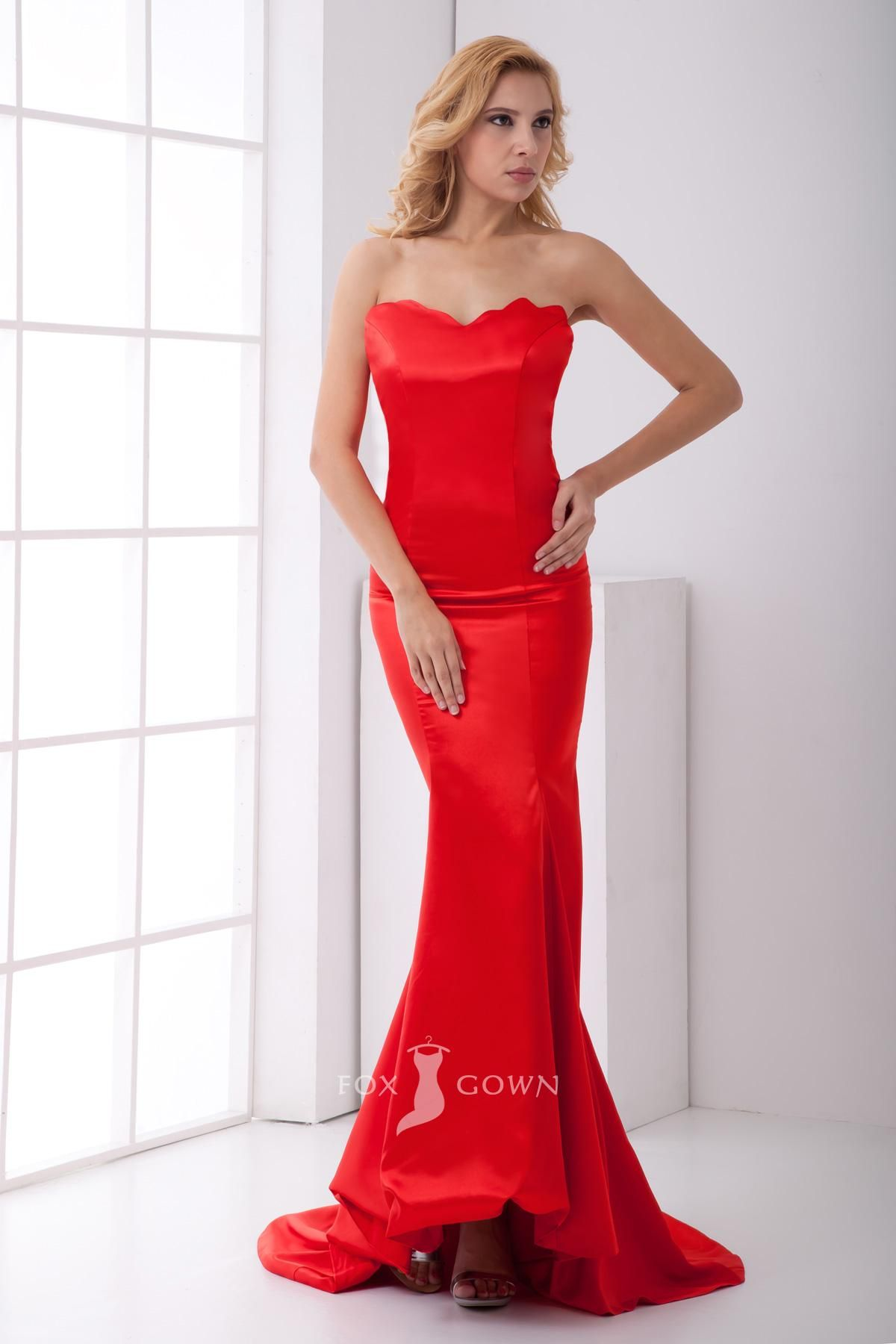Name brand wedding dresses  fashion red mermaid slim strapless long jagged edges neckline