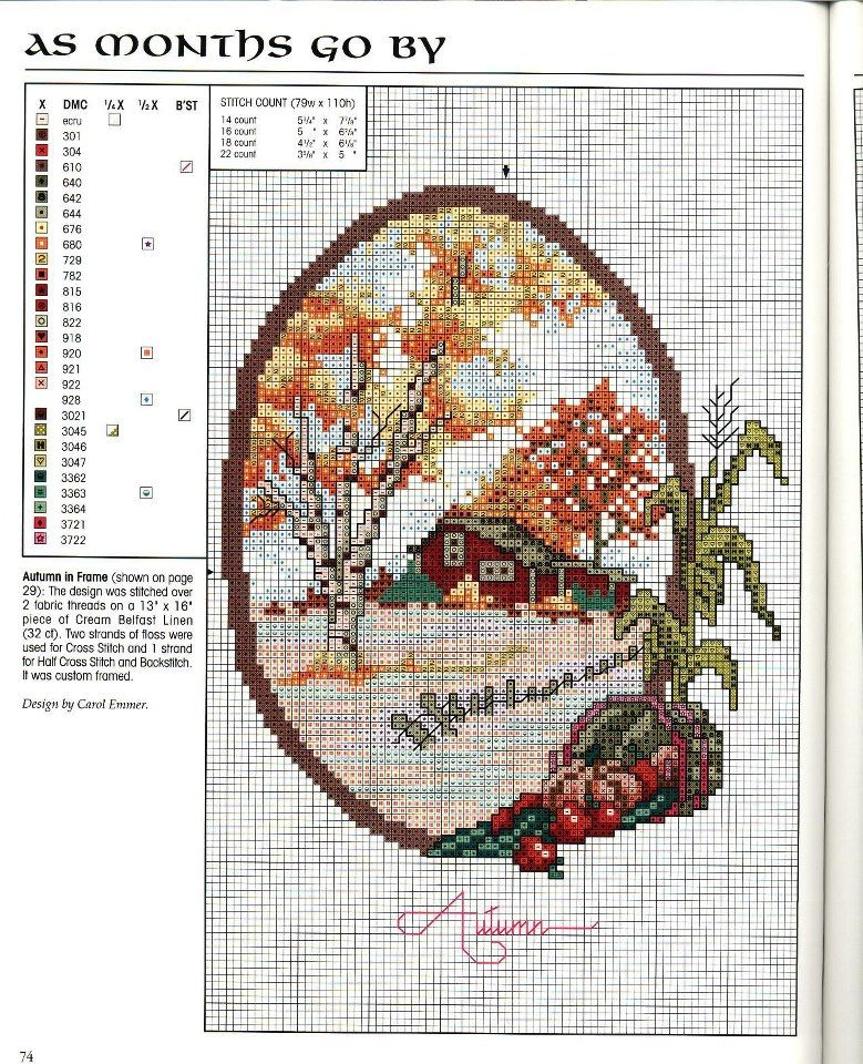 """As Months Go By: Autumn"" by Carol Emmer. Free sewing pattern graph."