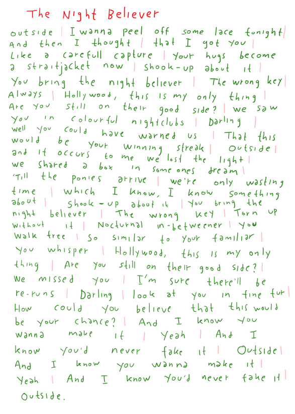 THE NIGHT BELIEVER LYRICS HANDWRITTEN BY JONAS. http://bit.do ...