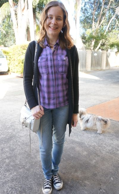 Black belted maxi cardigan purple plaid shirt skinny jeans ...