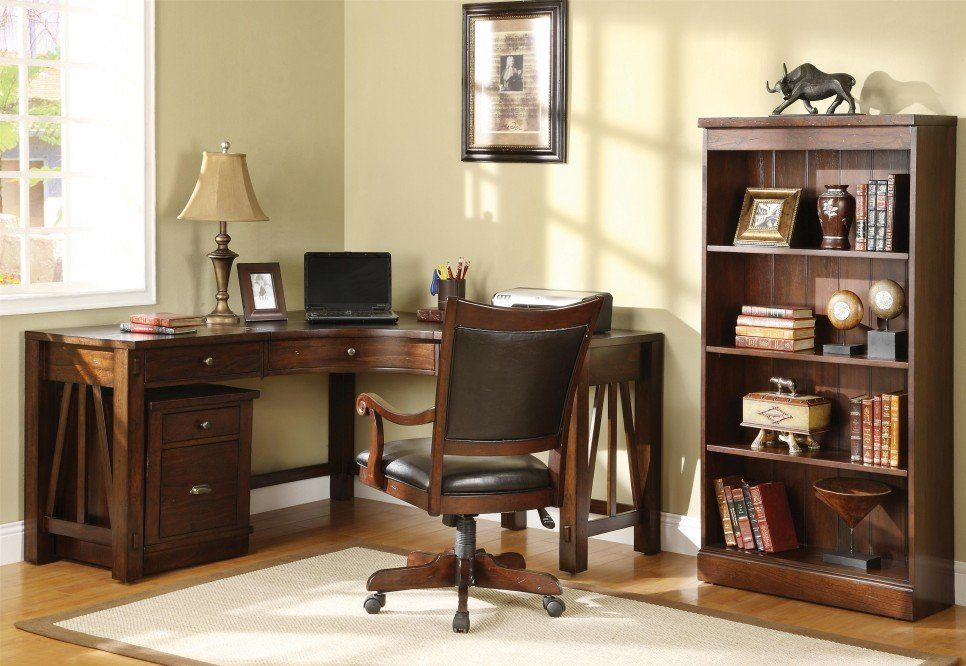 Furniture Old And Traditional L Shaped Oak Wood Home Office Corner Desk Design With Drawer Storage Small Bookshelf Beside Cabinet Without Door