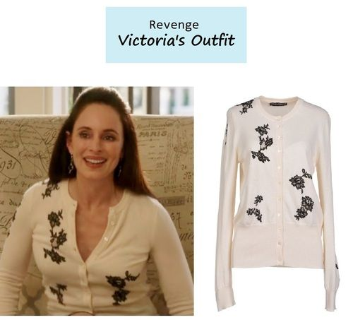 "On the blog: Victoria's (Madeleine Stowe) beige sweater cardigan with black floral embroidery | Revenge - ""Resurgence"" (Ep. 307) #tvstyle #tvfashion #outfits #fashion"
