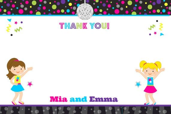 Dance Party Thank you note --  Rock Star Party #rockstarparty