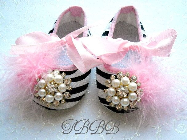 Baby Girl Crib Shoes Zebra Fancy Baby Booties.Newborn Booties,Baby ...