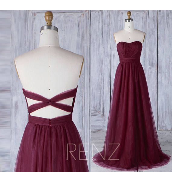 Wine Tulle Bridesmaid Dress Strapless, Ruched Sweetheart Wedding Dress, Backless Evening Gown, A Line Ball Gown Floor Length (HS460) #lacebridesmaids