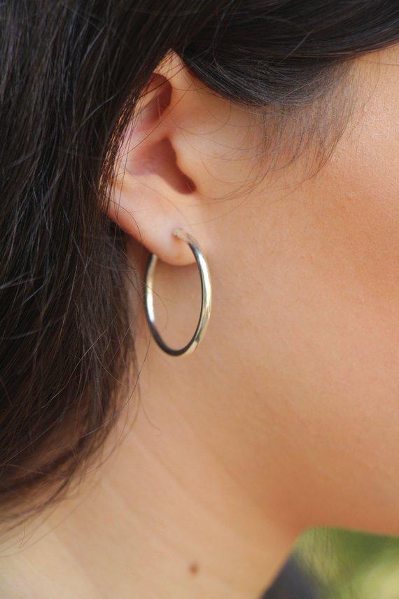 c9ab8c6b3b025a Silver Hoop Earrings, Sterling silver Hoops, Small Medium Large Boho  earrings, simple minimal hoop jewelry, Gypsy silver hoop earrings