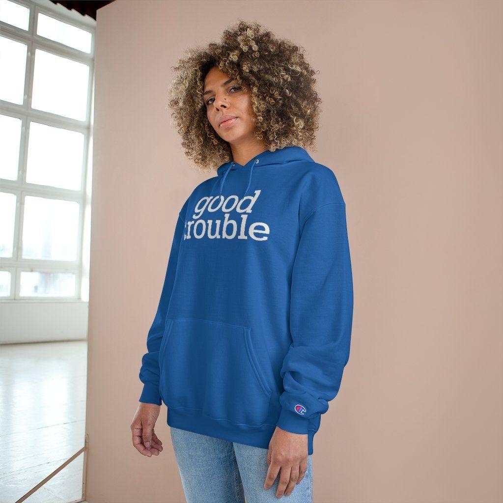 Photo of John Lewis Good Trouble Unisex Champion Brand Hoodie – XL / Royal Blue