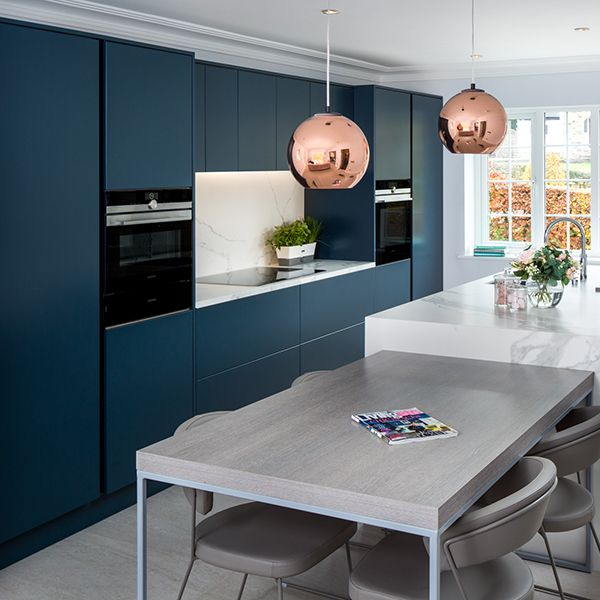 Best Our Latest Contemporary Display Kitchen In Ink Blue White 400 x 300