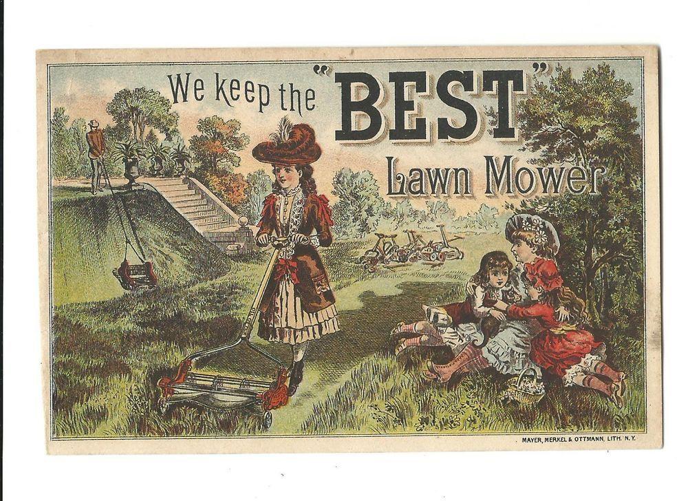 Old Trade Card BEST Lawn Mower Lawn Mowing Estate Reel