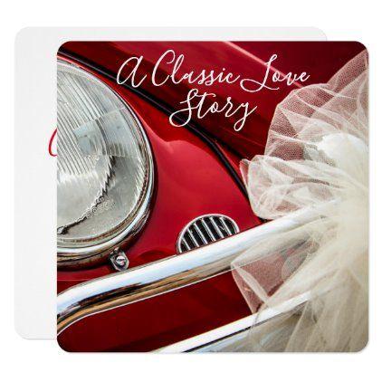A classic car love story wedding invitation | Zazzle.com