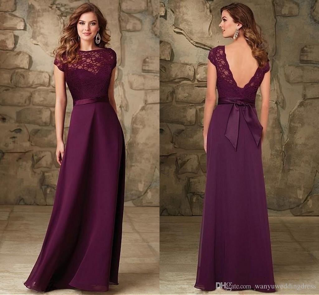 Maroon Bateau Cap Sleeves Bridesmaids Gowns Backless Floor Length Long Plum Chiffon Lace Sash Wedding Guest Bridesmaid Dresses