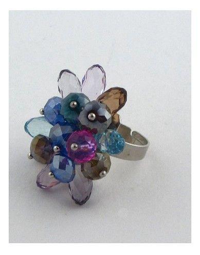 Flower shape adjustable crystal ring-id.24992