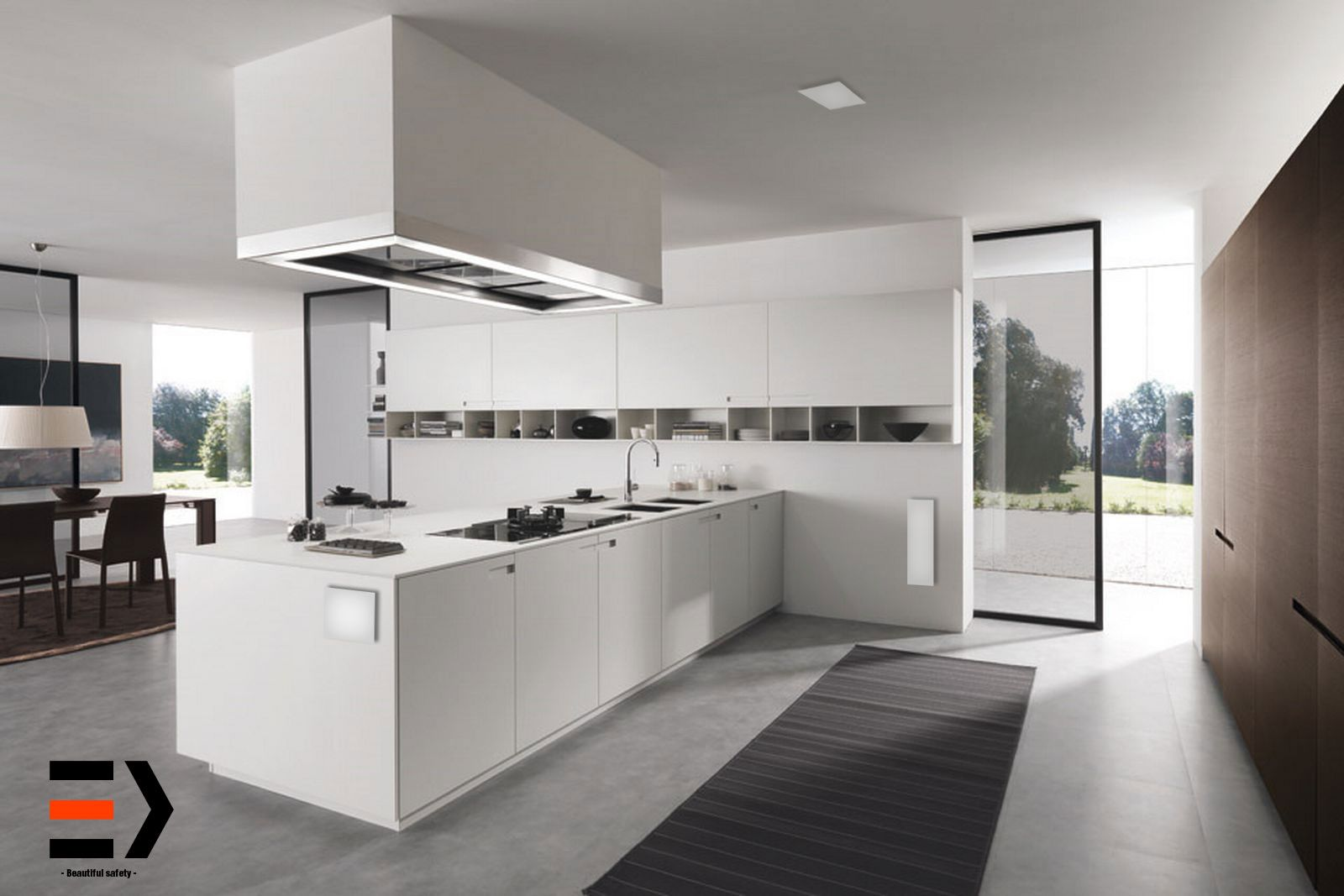 The white line White modern kitchen, Minimalist kitchen