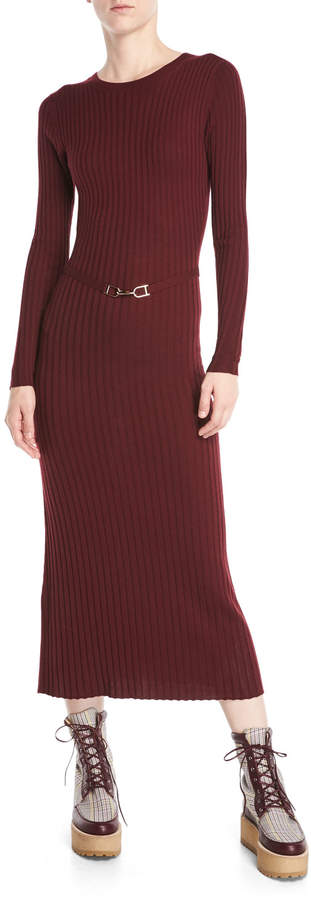 ba89685543 Gabriela Hearst Luisa Crewneck Long-Sleeve Ribbed Wool Maxi Dress ...