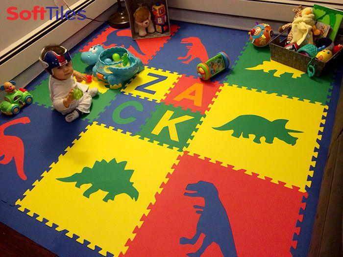 Softtiles Primary Color Dinosaur Kids Play Mat With Custom Name Mats D154 Kids Playroom Kids Playmat Playroom