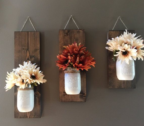 Fall Wall Sconce | Individual Mason Jar Sconce | Cream wall Sconce | Rustic Decor | Painted Mason Jar | Floral wall sconce #livingroompaintcolorideas
