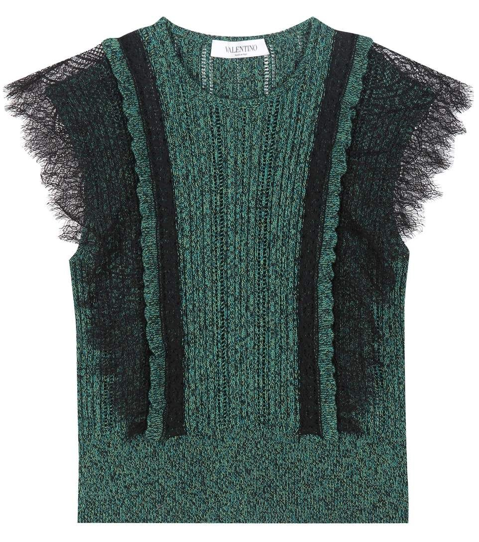 Green cotton sweater with lace - Valentino | Knitwear inspiration ...