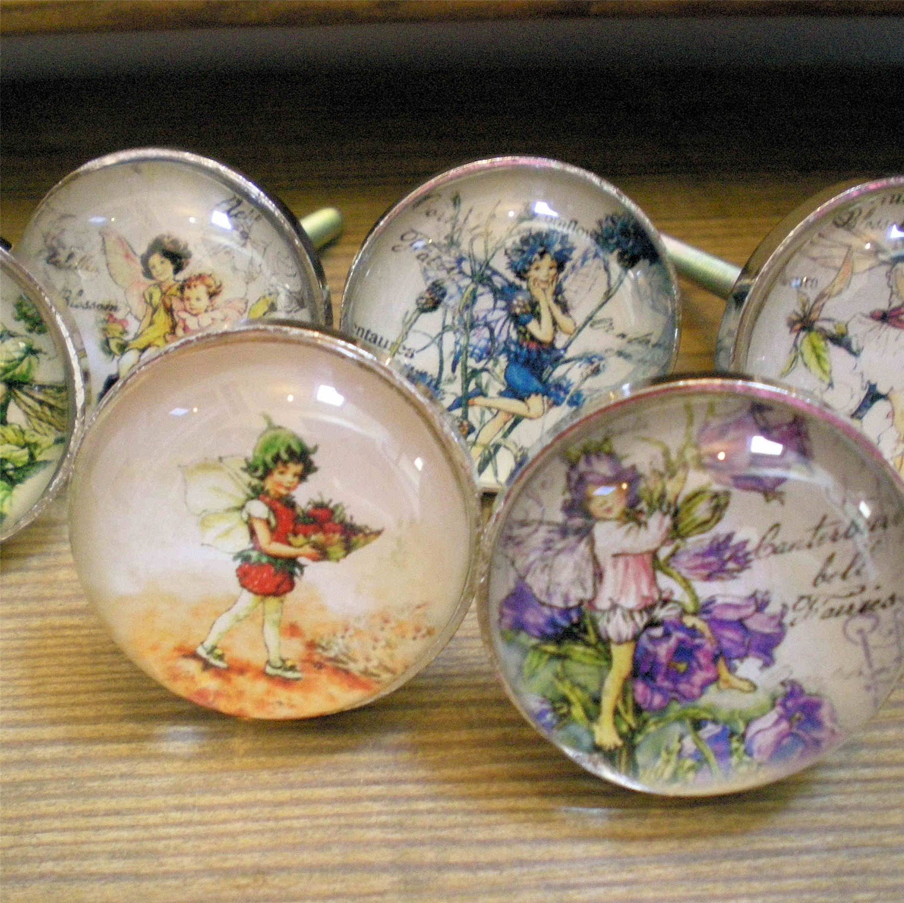 Flower fairy glass door knobs girls bdrm furniture drawer pulls ...