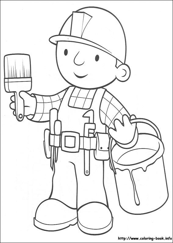 Bob The Builder Coloring Picture With Paint Bucket Paintbrush