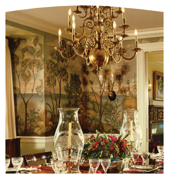 Nantucket, Massachusetts Dining Room – A scenic mural by CHUCK FISCHER painted in the American Primitive style.  Decorator-Cullman/Kravis