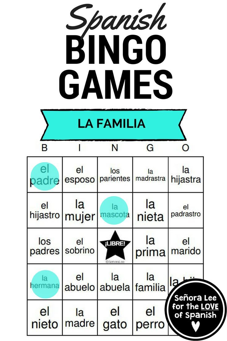 Spanish Family Vocabulary Bingo | La Familia | SPANISH Learning ...