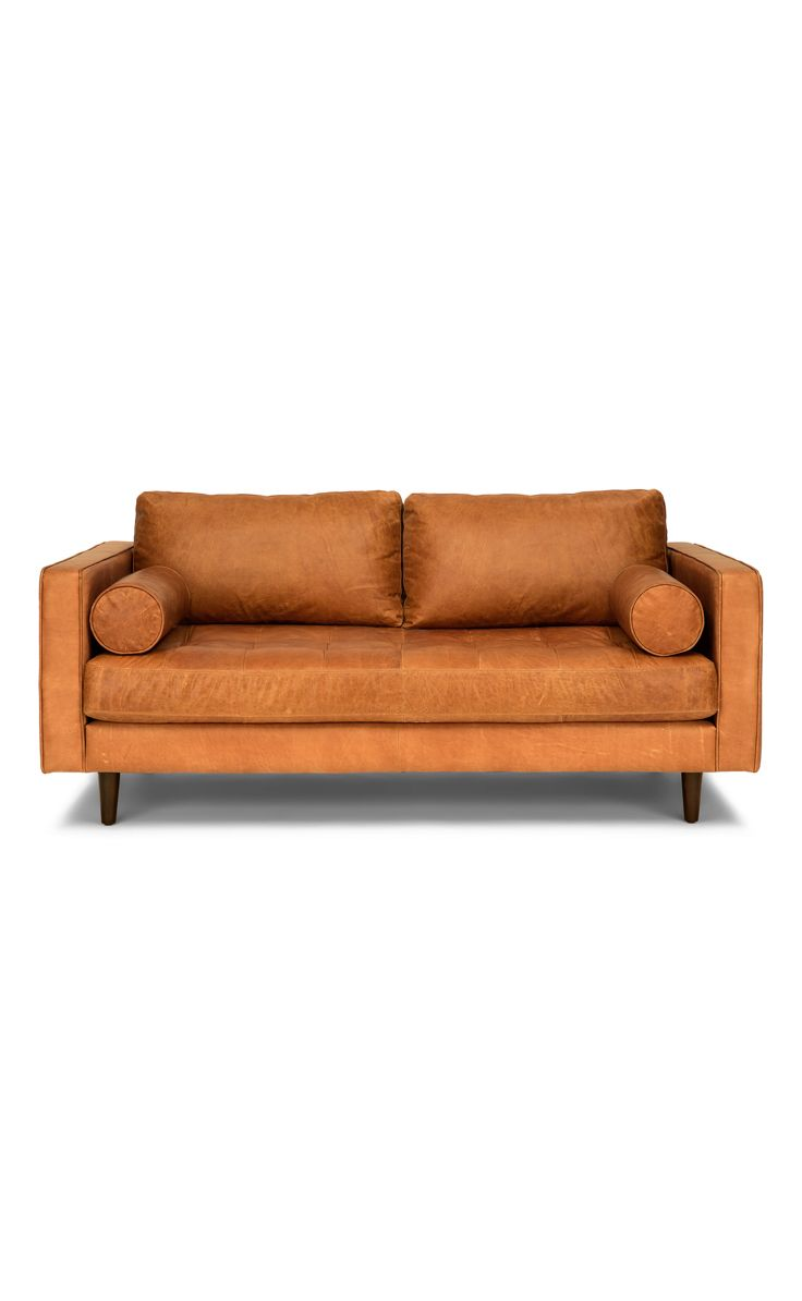 "tan brown leather sofa - 72"" wide, italian leather | article sven"