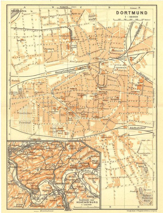 1909 Original Antique City Map of Dortmund Germany from Karl